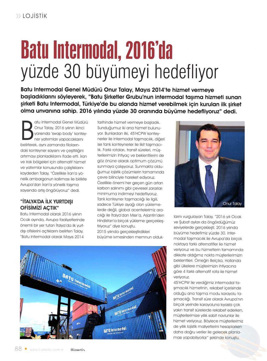Batu Intermodal, 2016'da yüzde 30 Büyümeyi Hedefliyor! // Hizmetix Dergisi
