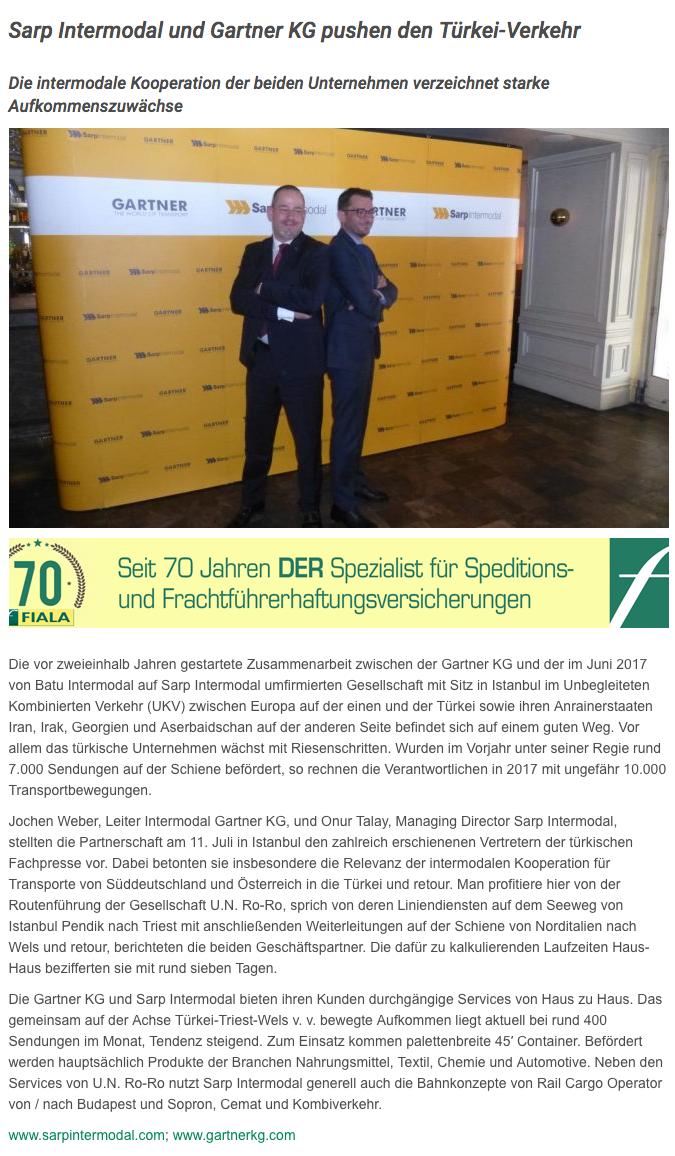 Sarp Intermodal und Gartner KG pushen den Türkei-Verkehr