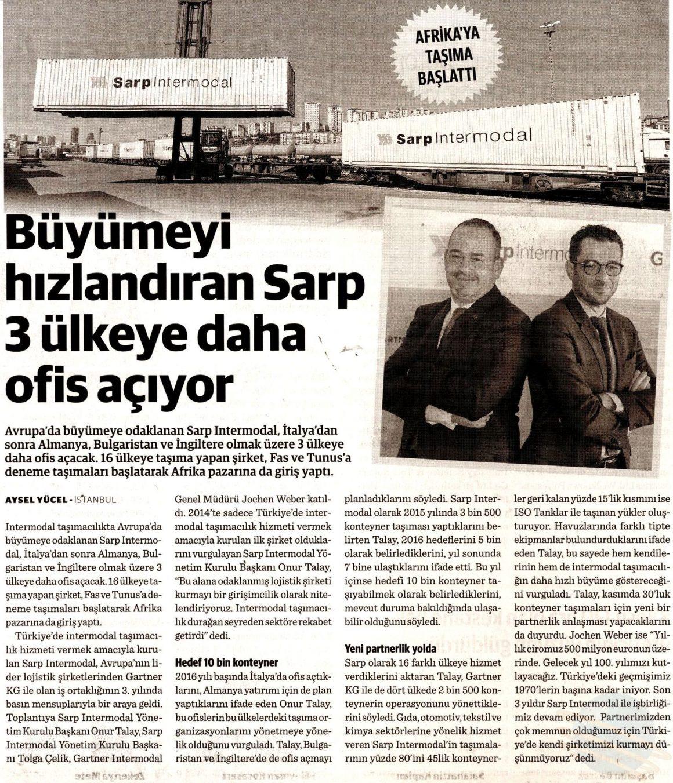 Büyümeyi Hızlandıran Sarp Intermodal, 3 Ülkeye Daha Ofis Açıyor // Dünya Gazetesi
