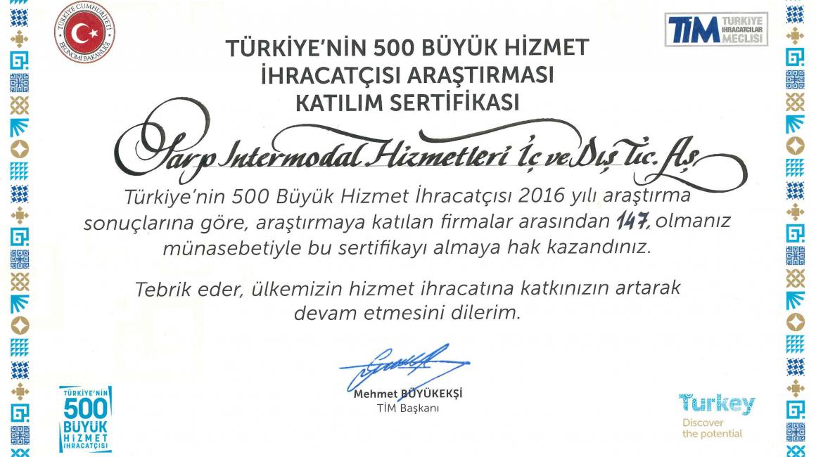 Sarp Intermodal, Türkiye'nin En Büyük 500 Hizmet İhracatçısı Arasında Yer Aldı!