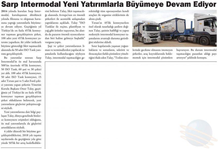 SARP INTERMODAL'DAN YENİ YATIRIMLAR // Kargo Haber Dergisi