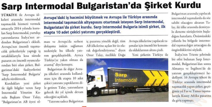 SARP INTERMODAL BULGARİSTAN'DA ŞİRKET KURDU // Kargo Haber Dergisi