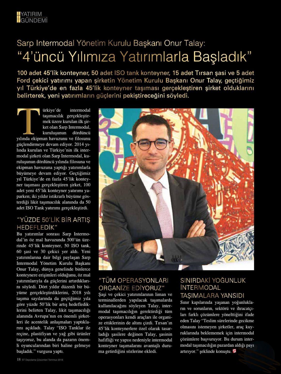 4'ÜNCÜ YILIMIZA YATIRIMLARLA BAŞLADIK // SEKTÖREL TANITIM DEPOLAMA DERGİSİ