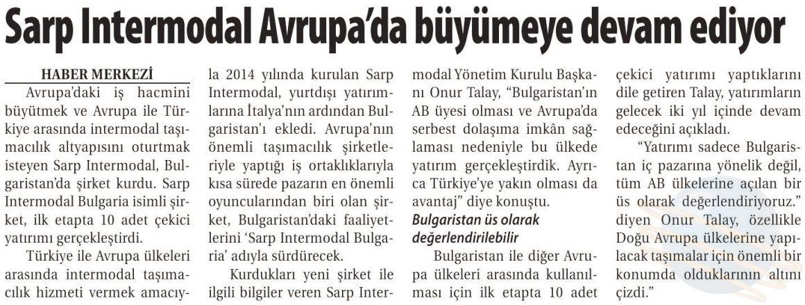SARP INTERMODAL AVRUPA'DA BÜYÜMEYE DEVAM EDİYOR // TİCARET GAZETESİ