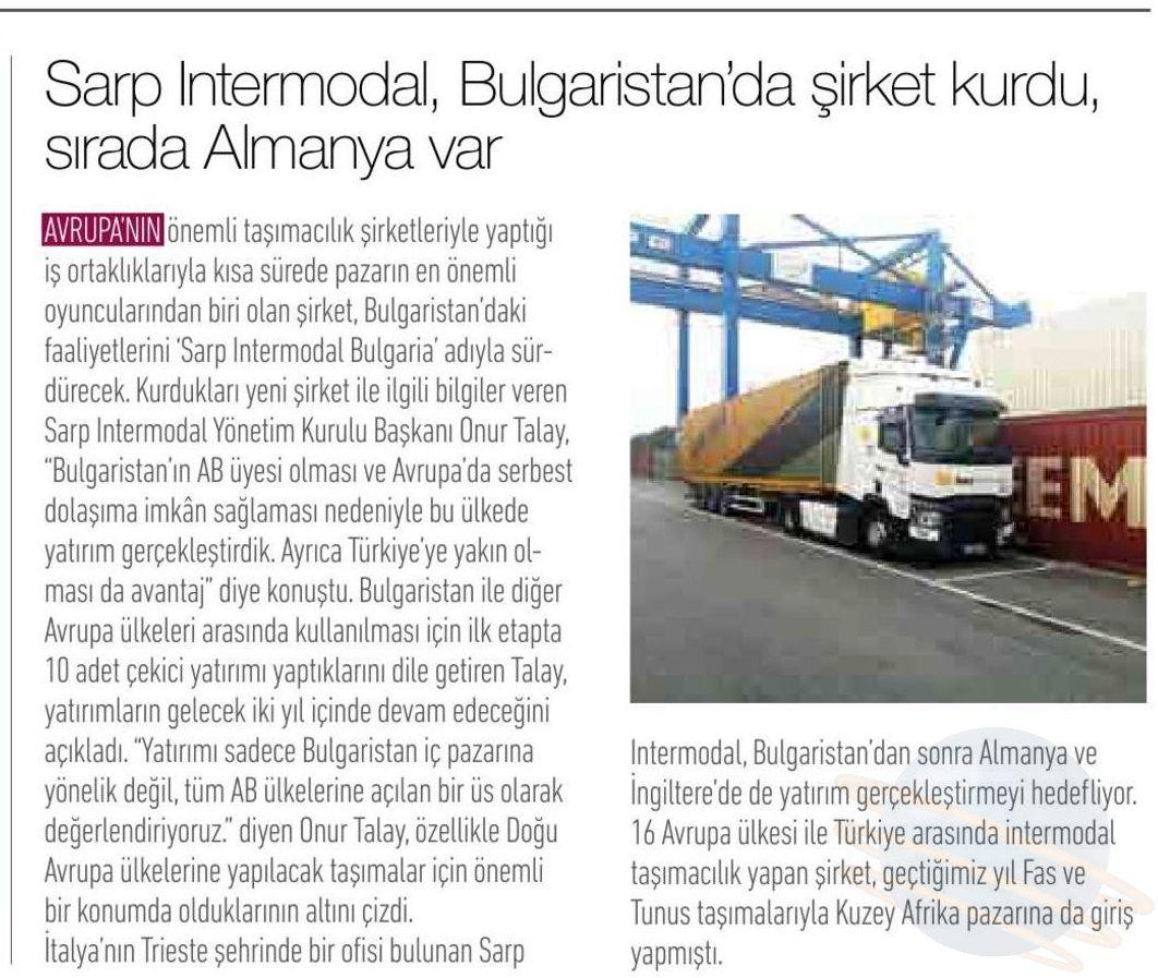 SARP INTERMODAL, BULGARİSTAN'DA ŞİRKET KURDU, SIRADA ALMANYA VAR  // TRANSMEDYA DERGİSİ