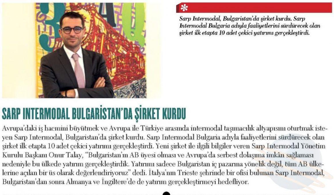 SARP INTERMODAL BULGARİSTAN'DA ŞİRKET KURDU // ÜNİBUSSİNES DERGİSİ