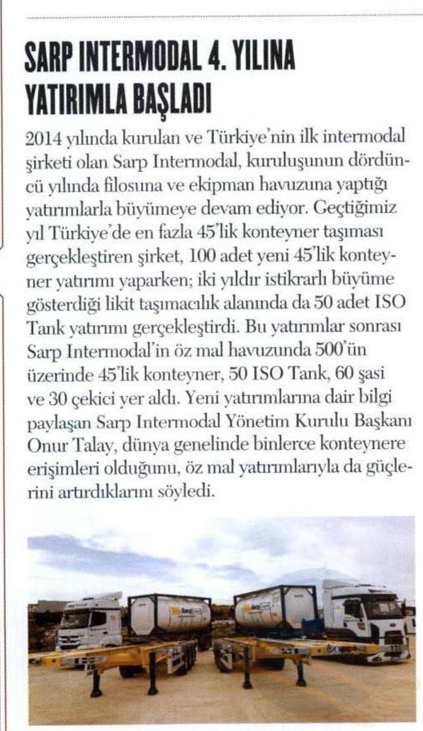 SARP INTERMODAL 4. YILINA YATIRIMLA BAŞLADI // ÜNİBUSSİNES DERGİSİ