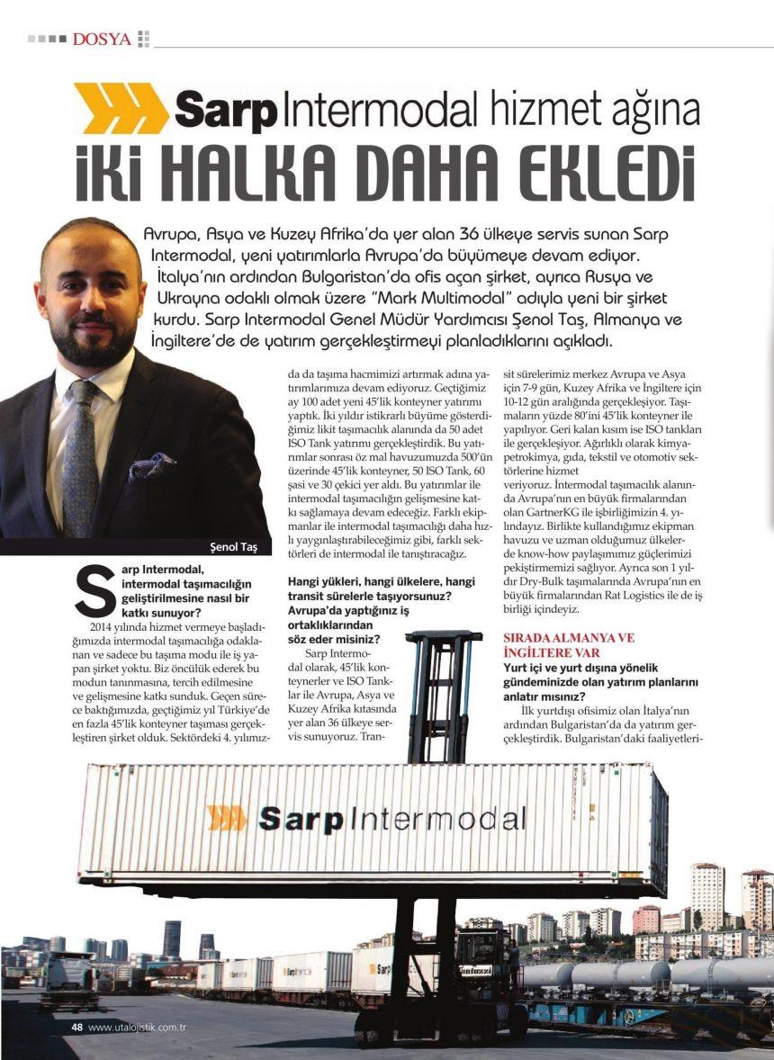 SARP INTERMODAL HİZMET AĞINA İKİ HALKA DAHA EKLEDİ // UTALOJİSTİK DERGİSİ