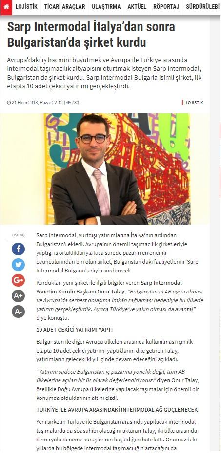 SARP INTERMODAL İTALYA'DAN SONRA BULGARİSTAN'DA ŞİRKET KURDU // YEŞİLLOJİSTİKÇİLER.COM