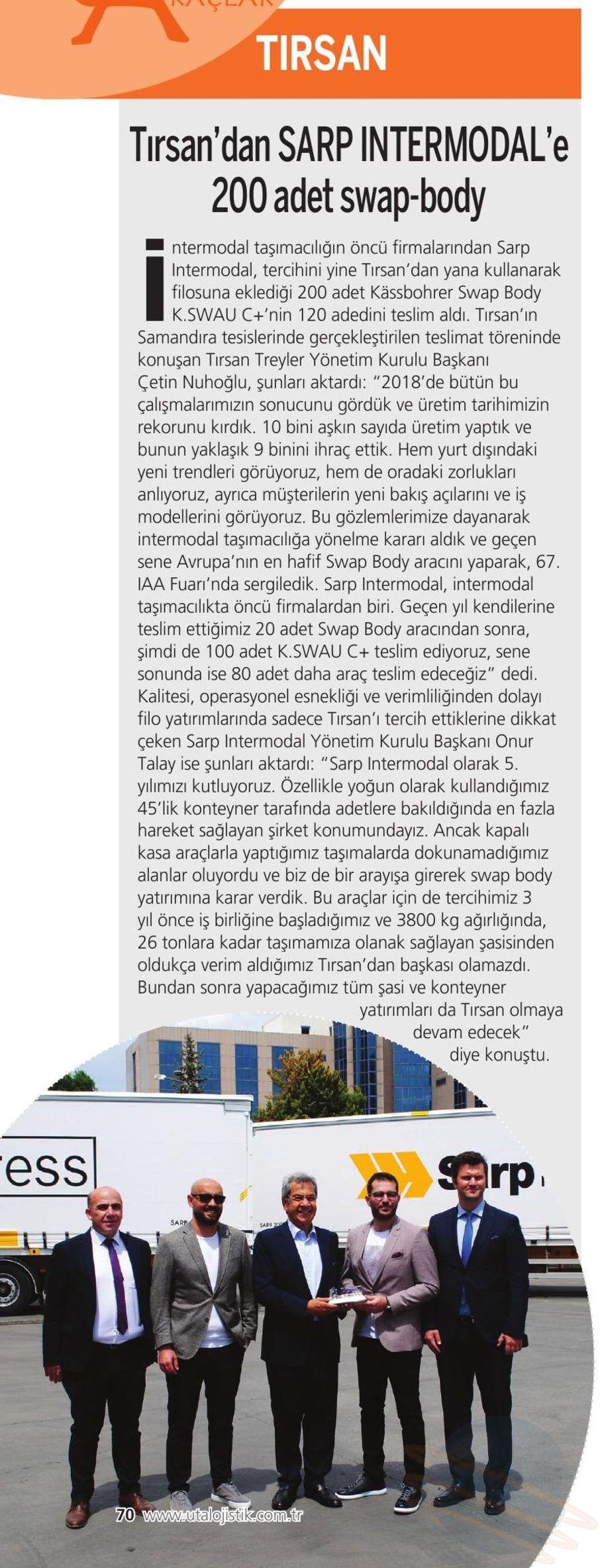 Tırsan'dan Sarp Intermodal'e 200 adet swap-body // UTA Lojistik
