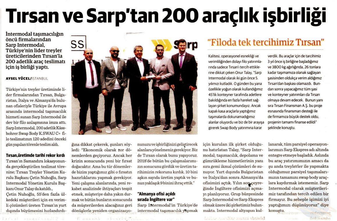 Tırsan ve Sarp'tan 200 Araçlık İşbirliği // Dünya Gazetesi