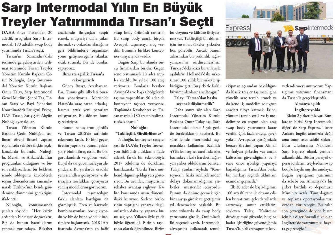 Sarp Intermodal Yılın En Büyük Treyler Yatırımında Tırsan'ı Seçti // Kargo Haber