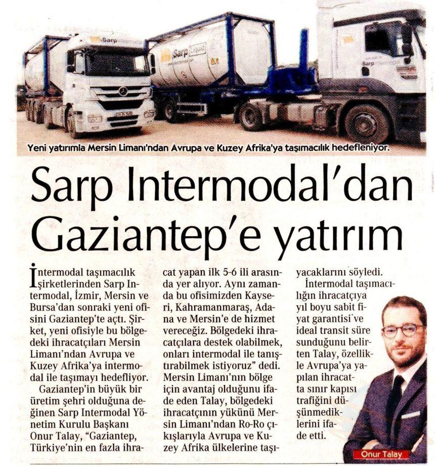 Sarp Intermodal'dan Gaziantep'e yatırım // Cumhuriyet Gazetesi
