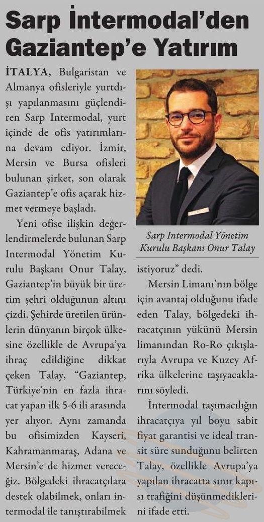 Sarp Intermodal'den Gaziantep'e Yatırım // Kargo Haber