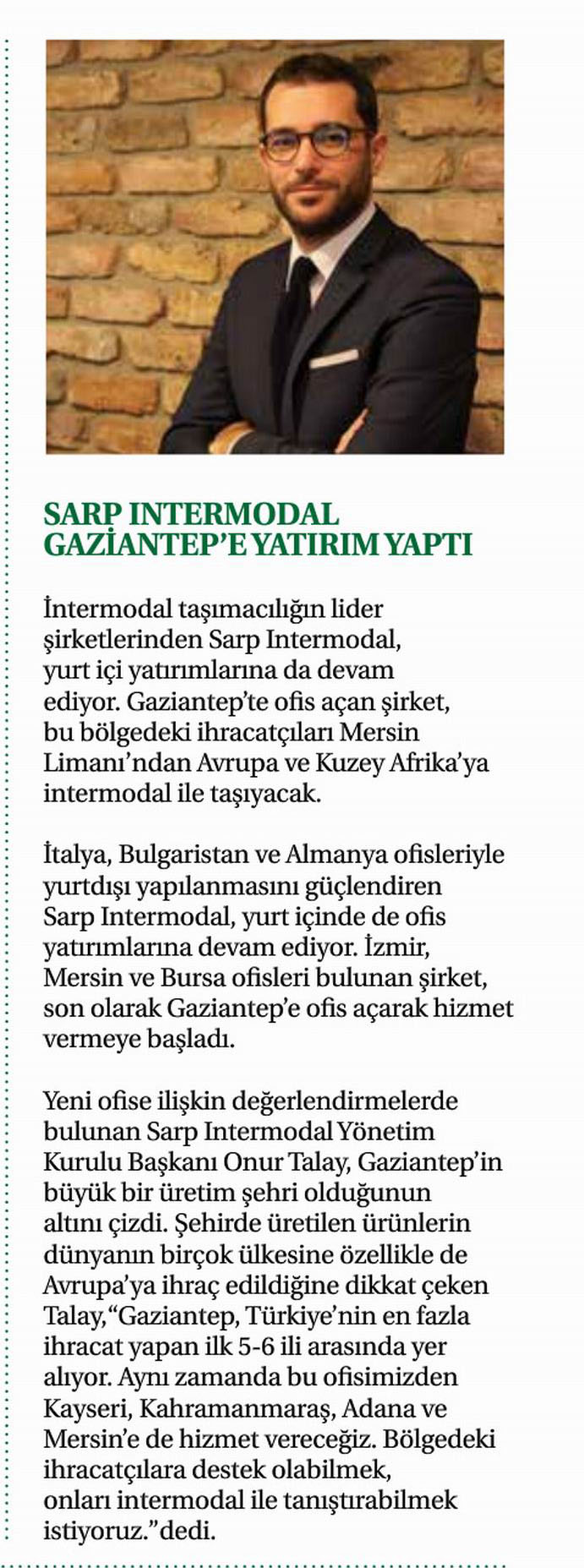 Sarp Intermodal'den Gaziantep'e Yatırım // Busıness World Global